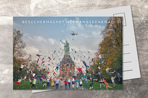 Postkarte 10x15 Wimmelfoto Hermannsdenkmal