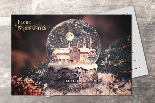 Postkarte 10x15 Xmas 2019 Schneekugel