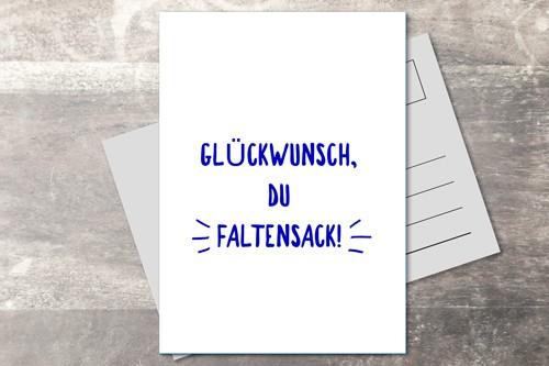 Postkarte 10x15 Faltensack