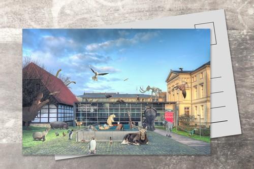 Postkarte 10x15 Pause beim Landesmuseum Detmold